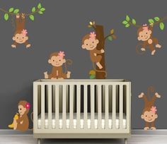 "Cute Fabric Decal Girl Monkey set... perfect for a little girls monkey themed nursery, or your ""big"" little monkey's room :)  All items are repositionable"