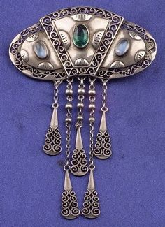 Jugendstil Silver, Moonstone, and Green Glass Brooch, probably Pforzheim, with filigree accents, .935 mount, lg. 3 in., German maker's mark | JV