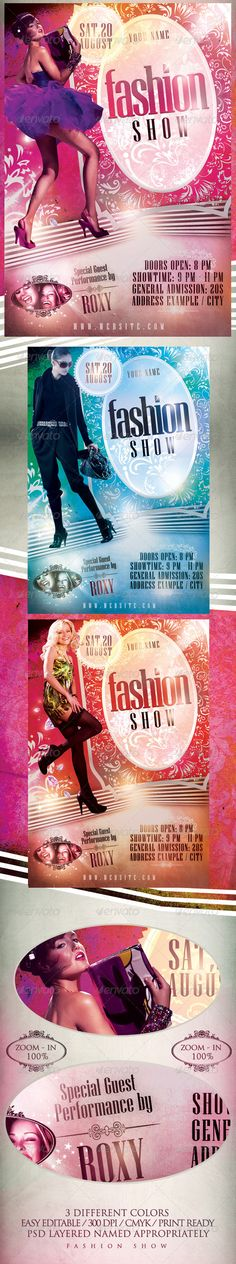 Fashion Show Flyer Template / $6. *** This flyer is perfect for the promotion of fashion shows/festivals, shops/boutiques, new collections or whatever you want!. ***