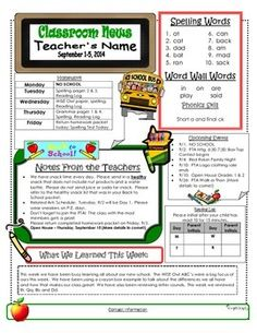 Teachers can place their homework assignments, lesson objectives, spelling words, etc all in one beautiful beginning of the year-themed newsletter! Weekly Newsletter Template, Preschool Newsletter, End Of School Year, Back To School, Future Classroom, Classroom Decor, Weekly Homework Sheet, Cover Sheet Template, Kindergarten Homework