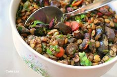 Seared lentil salad with eggplant, carrot, parsley and mint Vegan Dinner Recipes, Delicious Vegan Recipes, Vegan Dinners, Healthy Recipes, Eggplant Salad, Israeli Food, Lentil Salad, Pescatarian Recipes, Vegan Kitchen