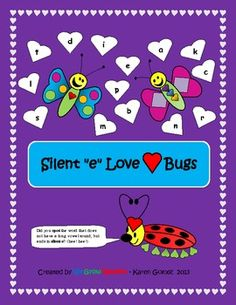 Here are 2 pages for students to have fun writing silent e words and coloring love bugs. They must choose from the hearts to form silent e words. Great practice for those who need it. Use this for any time of the year, not just Valentines Day! Love Bugs are in season any time you are learning about silent e.