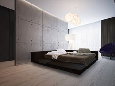 Фото — Dom Pechersk — Interior design  I usually don't like minimalist interiors but the light here is perfect for a bedroom.