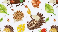Dear Stella Prickly Little Hedgehogs Hedge Hog Fabric Woodland Animal Brown on White. $10.00, via Etsy.