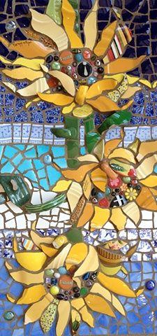 Trio of Sunflowers  by Anja Hertle ~  Maplestone Gallery  ~  Contemporary Mosaic Art