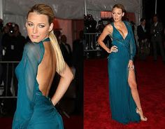 backless turquoise high slit dress