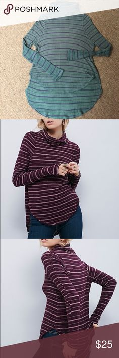 We The Free Striped Turtleneck Forest green with navy stripes thermal turtleneck. Very comfortable, very soft. In good condition. Has a lot of life left. Free People Tops Tees - Long Sleeve