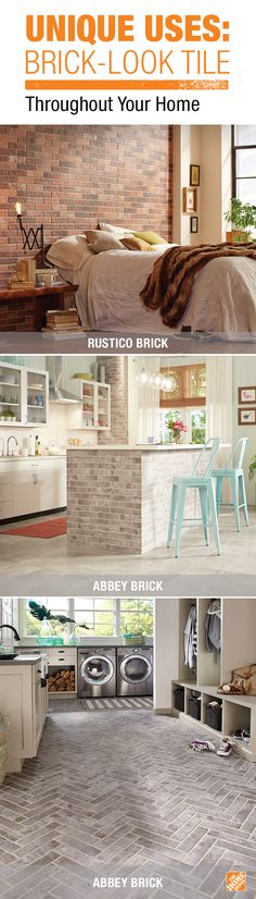 You can get the look of exposed brick with the easy installation of tile. Brick-look tile is a great choice for an accent wall in the bedroom, eye-catching kitchen island or a beautiful and easy-care mudroom floor. Click through to see more innovative ways to incorporate tile in your home.