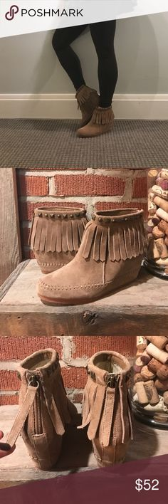 NWOT leather suede fringe booties NWOT Awesome boho fringe leather booties with cute zipper pull, absolutely perfect worn once! crown vintage Shoes Ankle Boots & Booties