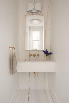 Chic Bathrooms, Modern Bathroom, Small Bathroom, Modern Vanity, White Bathroom, Bathroom Sinks, Bathroom Interior Design, Decor Interior Design, Interior Styling