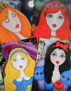Our brand new Fairy Tale #Art Postcard Set!  Features one each of the following characters:  Snow White, Thumbelina, Sleeping Beauty and Alice in Wonderland!  $10.00