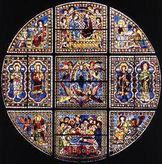 La cathédrale de Leon est un temple de culte catholique , siège épiscopal du diocèse de Leon , en Espagne - Stained-glass window by Duccio di Buoninsegna (1288)