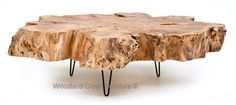 Organic Live Edge Slab Cocktail Table by Woodland Creek