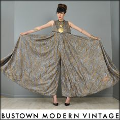 Vtg 70s Ultra Drape Crocodile Palazzo Bell Bottom Goddess Maxi Dress Jumpsuit