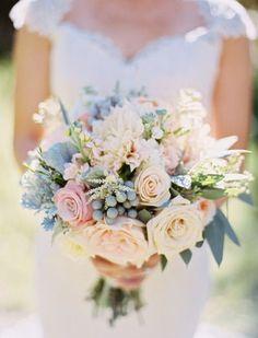 Wedding Bouquets Inspiration : Romantic Blush Sundance Resort Wedding: www. Blue And Blush Wedding, Dusty Blue Weddings, Blue Wedding Flowers, Bridal Flowers, Floral Wedding, Wedding Colors, Wedding Day, Blush Flowers, Trendy Wedding
