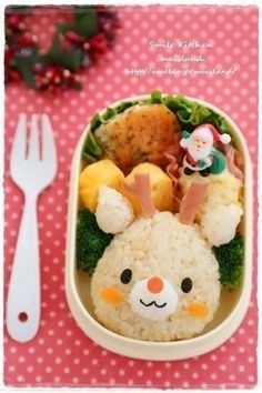 Rudolph the Red Nosed Reindeer Christmas onigiri bento box Cute Bento Boxes, Bento Box Lunch, Lunch Boxes, Japanese Lunch Box, Japanese Snacks, Japanese Food, Bento Recipes, Bento Ideas, Lunch Ideas