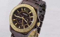 Fossil CE1044 Stone Dial Chocolate Brown Ceramic Chrono Watch from DEE fashions in Aurora, Ontario, Canada