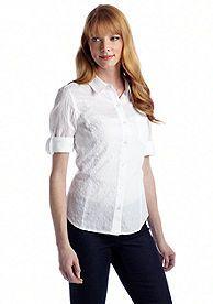 Jones New York Sport Petite Fitted Roll Up Elbow Sleeve Shirt