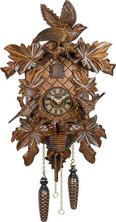 Cuckoo Clock Quartz-movement Carved-Style 46cm by Trenkle Uhren including worldwide shipping