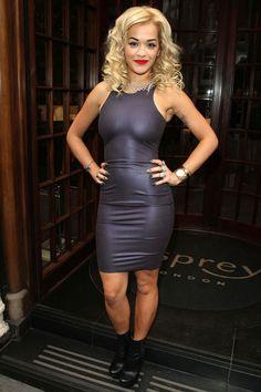 Rita Ora in a Kim West Rubber Latex Dress.