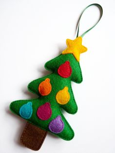 Felt Christmas Tree Festive Decoration / Christmas Tree Ornament / Holiday Gift - Forest Green with Multi Coloured Baubles and Star. £6.00, via Etsy.