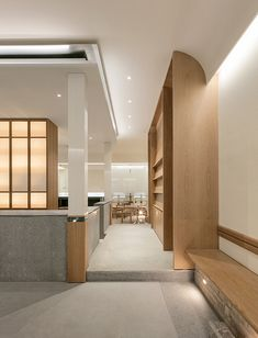 Completed in 2019 in South Korea. Images by Yong Joon Choi. SAEM Café has a tranquil and a strong feeling at once. The neat structure and natural colors are combined and finally be an SAEM Cafe as a. Cafe Interior, Interior Design, Cafe Design, Cafe Restaurant, Architect Design, Commercial Interiors, Ceiling Design, Office Interiors, Door Design