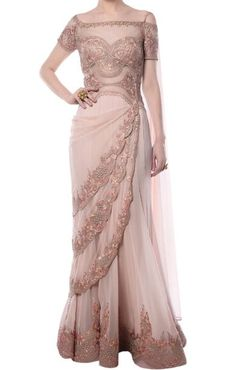 Shop Mandira Wirk Blush pink embroidered saree gown , Exclusive Indian Designer Latest Collections Available at Aza Fashions Indian Fashion Designers, Indian Designer Outfits, Indian Outfits, Designer Dresses, Party Wear Dresses, Bridal Dresses, Party Gowns, Saree Gown, Lehenga