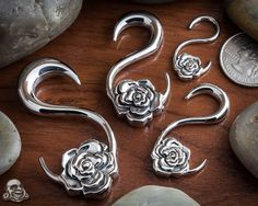 Steel rose hanging design by Halftone. Love these! Wear them everyday, even comfortable for sleep! #BAF