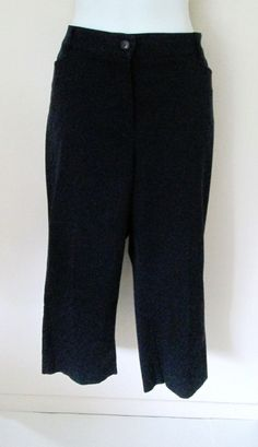 Sag Harbor Size 14 Navy Blue Capris Cropped Pants Flat Front Career Casual #SagHarbor #CaprisCropped