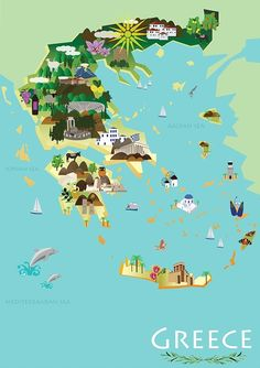 This illustrated map of Greece was created in Adobe Illustrator. Each individual illustration highlights some of the qualities Greece is known for, including its ancient architecture, beautiful beaches, and other tourist attractions! Greek Islands Map, Greece Islands, Greece Tourist Attractions, Tourist Map, Greece Map, Greece Travel, Santorini, Party Vintage, Thinking Day