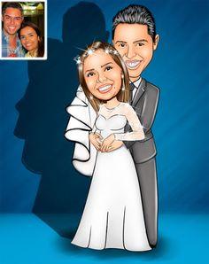 Caricaturas digitais, desenhos animados, ilustração, caricatura realista: Desenho de noivos abraçados !!