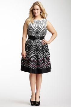 {Chevron Pleated Detail Belted Dress} Eliza J - plus sizes #plussize #curves #plussizefashion #plus #size