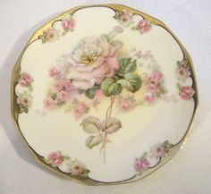 RS-Prussia-Rudolstadt-Hand-Painted-Roses-Porcelain-Plate-Shabby-Pink-Pickard-VTG