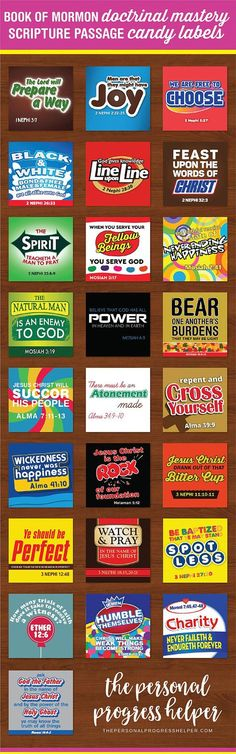 Seminary Book of Mormon Doctrinal Mastery Scripture Passage Candy Label Puns for LDS Youth - Making Progress Personal