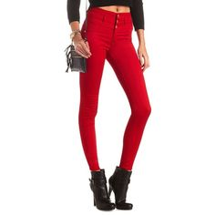 "Charlotte Russe Red Refuge ""Hi-Waist Super Skinny"" Colored Jeans by... ($9.99) ❤ liked on Polyvore featuring jeans, pants, bottoms, red, skinny jeans, slim fit skinny jeans, super stretch skinny jeans, high waisted jeans and super high waisted skinny jeans"