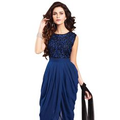 Blue Faux Georgette Readymade Asymmetric Churidar Kameez