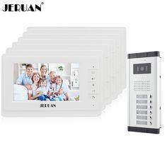 JERUAN 7 inch Video door phone Intercom System Apartment Doorbell intercom 6 Monitors 700TVL IR Night Vision Camera In stock #Affiliate