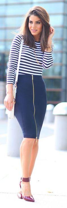 Navy Tulip Front Zip Midi Skirt by Camila Coelho