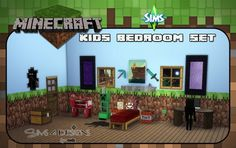 Sims 4 Designs: Minecraft Kids Bedroom Set • Sims 4 Downloads