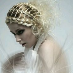 Reverse French braid with ribbons