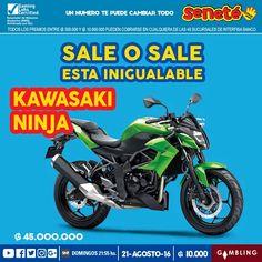 Esta inigualable Kawasaki Ninja puede ser tuya por tan solo G. 10.000 ¿Qué esperas para comprar tu cartón? ¡Pedí #Seneté!