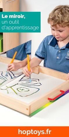 Utiliser le miroir comme outil d'apprentissage est une bonne idée ! En effet, ce dernier développe la conscience de soi chez les plus jeunes enfants et permet également de réaliser des activités ludiques avec les plus grands ! Dès le plus jeune âge, le miroir a tout bon ! Dans cette sélection découvrez les différents miroirs que nous avons et quelques jeux et outils à utiliser avec pour travailler par exemple la symétrie ou pour tout simplement développer l'imagination et l'exploration. Reggio, Exploration, Montessori, Triangle, Conscience, Games, Learning, Creativity, Classroom Setup