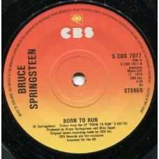"""7"""" 45RPM Born To Run/Meeting Across The River by Bruce Springsteen from CBS (S CBS 7077). 1979 reissue of the 1975 rock single. In original The Golden Decade sleeve that has some creasing, small tears and tape along bottom. Vinyl has minor scuffs but is in very good plus condition. £3.50"""
