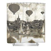 Boats And Balloons Shower Curtain by Andrew Hunter