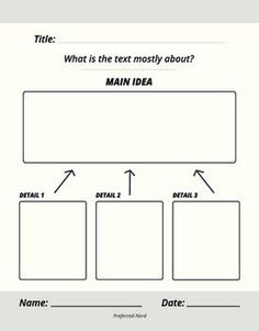 Main Idea graphic organizer. This file was designed to be printed as a 8.5 x 11 printable as a teaching tool and classroom resource. There's an accompanying Main Idea Anchor Chart too!