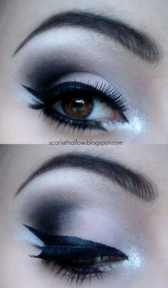 perfect smokey cat eye and brows....I luv this look.if I was young again iwould totally do this