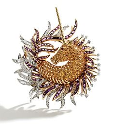18k Gold, Platinum, Yellow Sapphire, Amethyst and Diamond 'Licorne' Brooch. Schlumberger for TIFFANY AND CO.  Circa 1955.   Important Jewels, 24-25 September 2015 | Sotheby's. (=)
