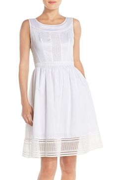 Adrianna Papell Embroidered Cotton Fit & Flare Dress