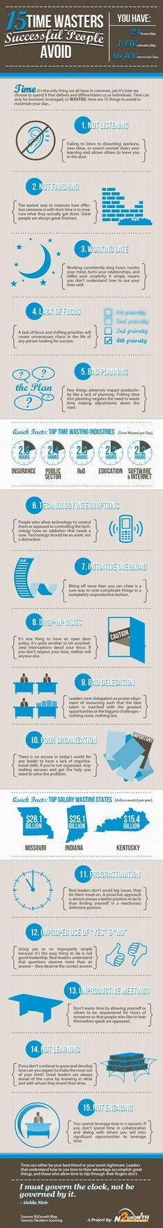 15 Time Wasters Succesful People Avoid #Infographic