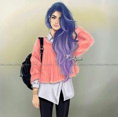 Imagem de girly_m, drawing, and art Girl M, Good Girl, Girly Girl, Girl Hair, Girly M Instagram, Sarra Art, Chica Cool, Cute Girl Drawing, Girly Drawings